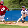 BANGOR, Maine -- 06/08/2017 - Bangor's Zach Cowperthwaite (left) slides safely to second past Hampden Academy's Rece Poulin during their quarterfinal baseball game at Mansfield Stadium in Bangor. Bangor won 2-0. Ashley L. Conti | BDN