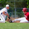 BANGOR, Maine -- 06/08/2017 - Hampden Academy's Andrew Gendreau (left) tags out Bangor's Zach Cowperthwaite at second during their quarterfinal baseball game at Mansfield Stadium in Bangor. Bangor won 2-0. Ashley L. Conti | BDN