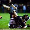 BREWER, Maine -- 09/22/2017 - Greely's Wyatt Brown (81) brings down Brewer's Cody Wood during their football game at Doyle Field in Brewer Friday. Ashley L. Conti | BDN