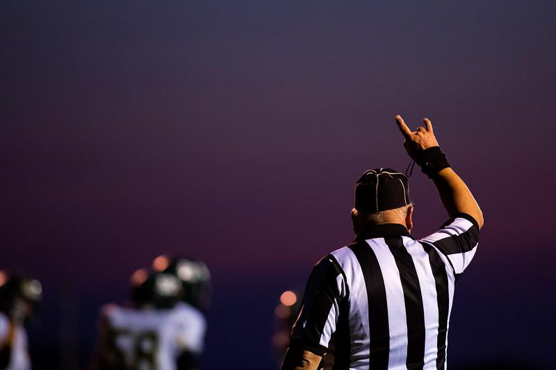 BUCKSPORT, Maine -- 09/15/2017 - An official signals the downs during the Bucksport versus Mount Desert Island football game at Carmichael Field in Bucksports Friday. Ashley L. Conti | BDN