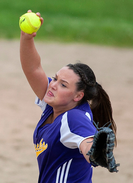 BUCKSPORT, Maine -- 05/25/2017 - Bucksport's Katelin Saunders pitches to Orono during their softball game in Bucksport Thursday. Ashley L. Conti | BDN