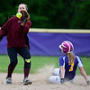 BUCKSPORT, Maine -- 05/25/2017 - Bucksport's Emily Hunt (right) slides safely to second past Orono's Katelyn Richards during their softball game in Bucksport Thursday. Ashley L. Conti | BDN