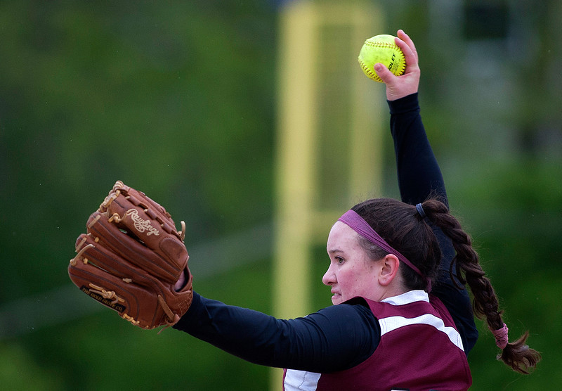 BUCKSPORT, Maine -- 05/25/2017 - Orono's Maddie Leclair pitches to Bucksport during their softball game in Bucksport Thursday. Ashley L. Conti   BDN