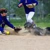 BUCKSPORT, Maine -- 05/25/2017 - Orono's Katie Walker (left) slides safely to third before Bucksport's Hannah Ashmore during their softball game in Bucksport Thursday. Ashley L. Conti | BDN