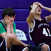 HAMPDEN, Maine -- 03/09/2017 -- Foxcroft Academy's Chase Paul (left) and Tyler Kessler react after their team missed a shot during their Unified basketball game against Hampden Academy at Hampden Academy Thursday. Hampden won. Ashley L. Conti | BDN