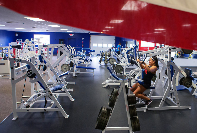 BANGOR, MAINE -- 04/06/2016 - Jade Socoby works on her shoulders during a training session at Union Street Athletics in Bangor Wednesday.  Ashley L. Conti   BDN