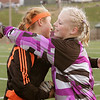 Madawaska goalie Liz Laplante , right, embraces NYA goalie Emily Staszak at the end of their championship game in hampden on Saturday.<br /> <br /> york photo    york photo