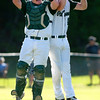 OLD TOWN, Maine -- 06/10/2017 - Old Town's Cole Danie (left) and Troy Crawford celebrate after defeating Ellsworth during their semifinal baseball game in Old Town Saturday. Old Town won 2-0.  Ashley L. Conti | BDN