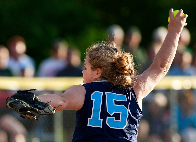 BREWER, Maine -- 06/13/2017 - Oceanside's Chloe Jones pitches to Old Town during their Class B North softball championship game at Coffin Field in Brewer Tuesday. Ashley L. Conti | BDN