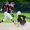 OLD TOWN, Maine -- 05/24/2017 - Old Town's Ethan Stoddard (right) slides safely to second past Orono's Jackson Coutts during their baseball game in Old Town Wednesday. Ashley L. Conti | BDN