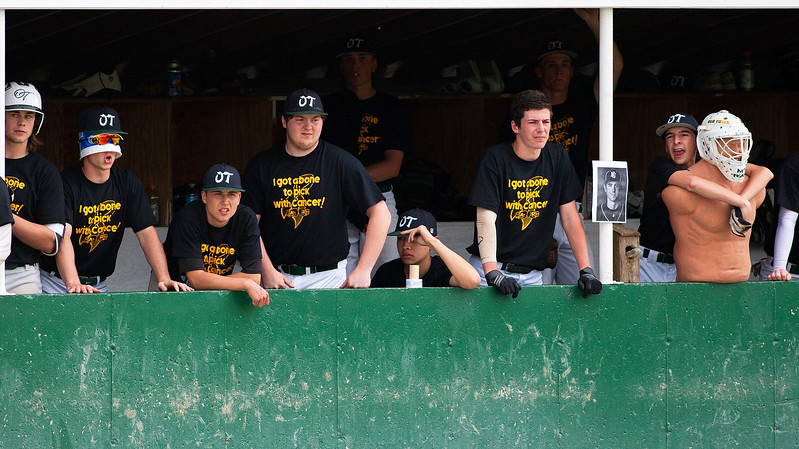 OLD TOWN, Maine -- 05/24/2017 - Old Town's bench cheers on their team during their baseball game against Orono in Old Town Wednesday. Ashley L. Conti | BDN