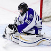 ORONO, Maine -- 03/07/2017 -- Waterville's Nathan Pinnette makes a save from Old Town-Orono during their Class B North hockey championship game at Alfond Arena in Orono Tuesday. Ashley L. Conti   BDN