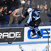 ORONO, Maine -- 03/07/2017 -- Old Town-Orono's Jacob Gallon celebrates after scoring against Waterville during their Class B North hockey championship game at Alfond Arena in Orono Tuesday. Ashley L. Conti   BDN