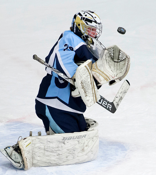 ORONO, Maine -- 03/07/2017 -- Old Town-Orono's Brenden Gasaway makes a save from Waterville during their Class B North hockey championship game at Alfond Arena in Orono Tuesday. Ashley L. Conti | BDN