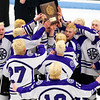 ORONO, Maine -- 03/07/2017 -- Waterville celebrates after defeating Old Town-Orono during their Class B North hockey championship game at Alfond Arena in Orono Tuesday. Ashley L. Conti | BDN