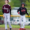 ORONO, Maine -- 05/31/2017 - Orono's Evan Kenefic (left) reacts to the call that Central's Mike Kelly is safe at second during their baseball game at Orono Wednesday.  Ashley L. Conti | BDN