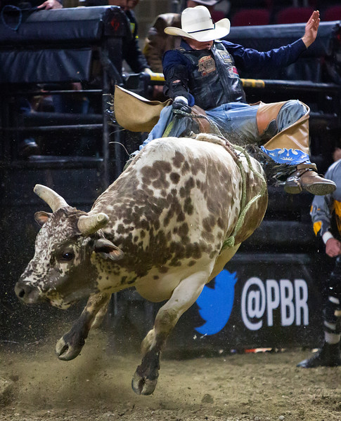 "BANGOR, Maine -- 03/11/2017 -- Cody Heffernan rides Squeegee during the Professional Bull Riders Velocity Tour ""Bangor Buck Off,"" at Cross Insurance Center in Bangor Saturday. Ashley L. Conti 