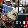 "BANGOR, Maine -- 03/11/2017 -- Fans watch as Garrett Ashley is bucked off Roman during the Professional Bull Riders Velocity Tour ""Bangor Buck Off,"" at Cross Insurance Center in Bangor Saturday. Ashley L. Conti 