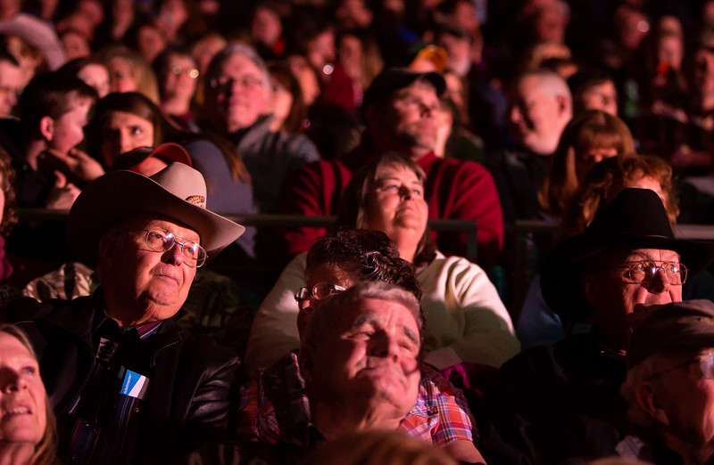 """BANGOR, Maine -- 03/11/2017 -- Fans watch introductions during the Professional Bull Riders Velocity Tour """"Bangor Buck Off,"""" at Cross Insurance Center in Bangor Saturday. Ashley L. Conti 