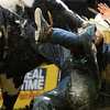 "BANGOR, Maine -- 03/11/2017 -- Clayton Gifford is bucked off Table Dancer during the Professional Bull Riders Velocity Tour ""Bangor Buck Off,"" at Cross Insurance Center in Bangor Saturday. Ashley L. Conti 