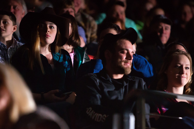 "BANGOR, Maine -- 03/11/2017 -- Fans watch introductions during the Professional Bull Riders Velocity Tour ""Bangor Buck Off,"" at Cross Insurance Center in Bangor Saturday. Ashley L. Conti 
