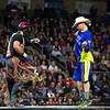 "BANGOR, Maine -- 03/11/2017 -- Robson Aragoa (left) dances after riding Colt .45 during the Professional Bull Riders Velocity Tour ""Bangor Buck Off,"" at Cross Insurance Center in Bangor Saturday. Ashley L. Conti 