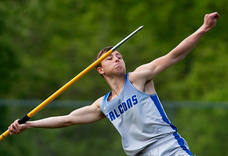 DOVER-FOXCROFT, Maine -- 06/03/2017 - Mountain Valley's Jasper Turner competes in the javelin throw as part of the State Class C Track and Field Championship Meet at Foxcroft Academy in Dover-Foxcroft Saturday.  Ashley L. Conti | BDN
