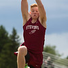 DOVER-FOXCROFT, Maine -- 06/03/2017 - George Stevens Academy's Max Mattson competes in the triple jump during the State Class C Track and Field Championship Meet at Foxcroft Academy in Dover-Foxcroft Saturday.  Ashley L. Conti | BDN