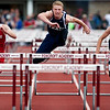 DOVER-FOXCROFT, Maine -- 06/03/2017 - Fort Fairfield's Jonah Daigle (from left), Traip Acadmey's Evan Porter, and Traip Academy's Samuel Simonds compete in the 110 meter hurdles as part of the State Class C Track and Field Championship Meet at Foxcroft Academy in Dover-Foxcroft Saturday. Porter took first, Daigle second, and Simonds third. Ashley L. Conti | BDN