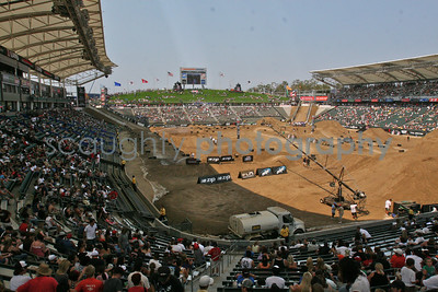 Crowds start to form as the warm up to the Moto X Freestyle Finals begins. The Home Depot Center's main stadium in Carson was transformed to accommodate the Moto X Racing, Moto X Freestyle, and Rally Car Racing Super Special Events.