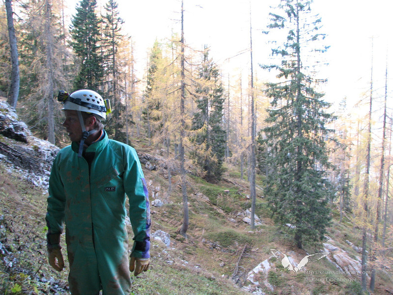 We crawled out of a small tunnel into the light and stranded in the woods of the Dachstein.