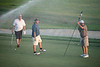 Angry Jon, Bano, Hank on the 18th as the sprinklers arrive