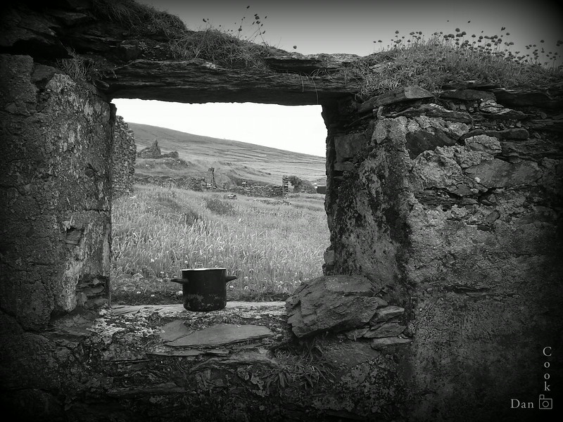 Part of an abandoned house on the Great Blasket Island off the coast of the Dingle Peninsula in Ireland