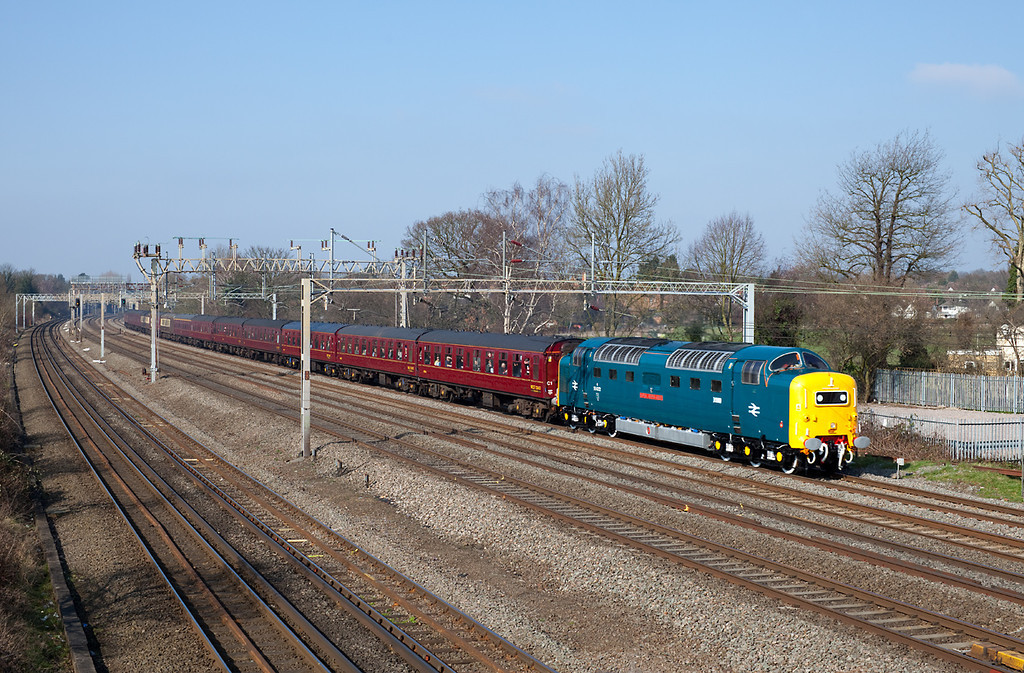 In beautiful spring sunshine 55022 'Royal Scots Grey' flies past Headstone Lane with a Spitfire railtours positioning move from Preston to London Euston. 4.3.11