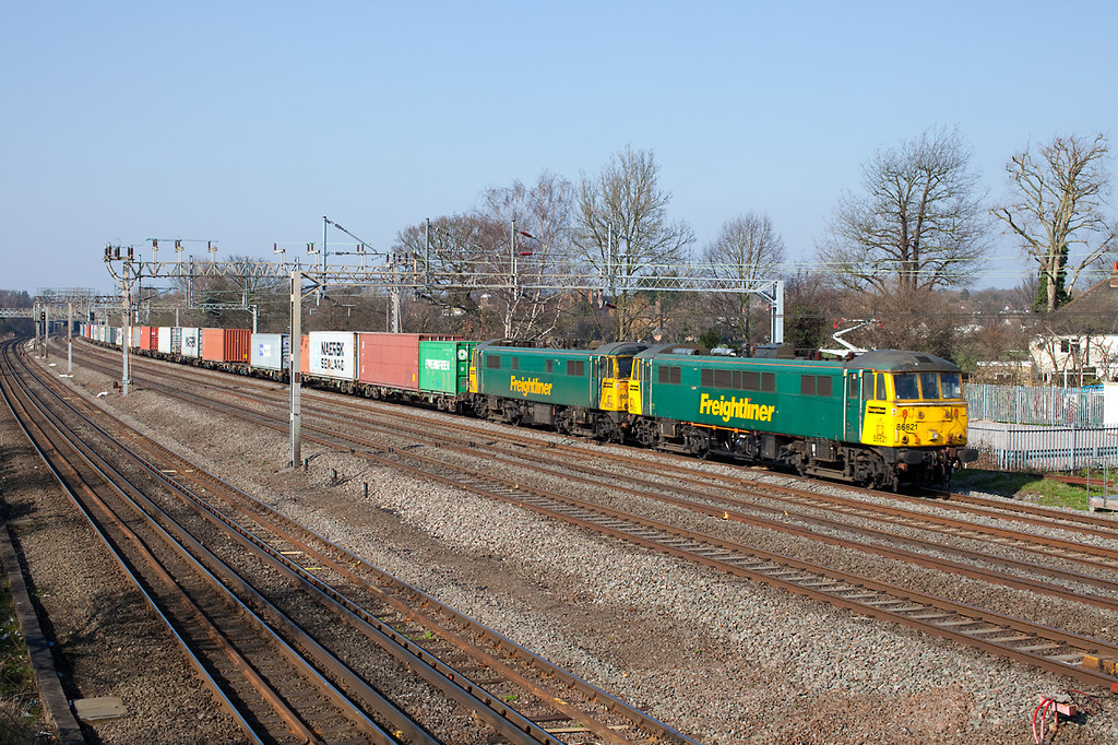 86621&86639 pass Headstone Lane with the 09.58 4L75 Crewe-Felixstowe Freightliner service