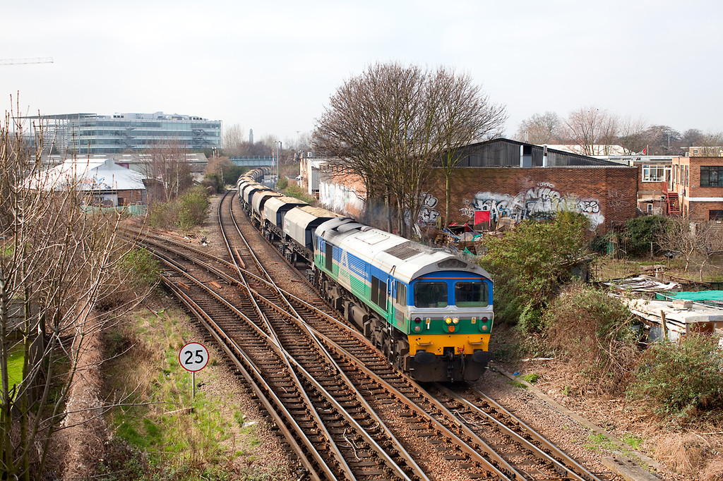 59001 passes South Acton Junction with an extra loaded stone working from Merehead to Bow Olympic.