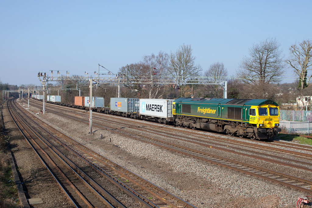 66956 pases Headstone Lane with the 4L93 10:08 Lawley Street-Felixstowe Freightliner service.4.3.11