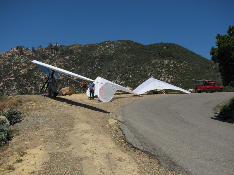 Getting ready to launch from the mountains above Santa Barbara