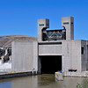 Lower gate has been raised and barge and tug will shortly appear.  Lower Monumental Dam, June 12, 2010
