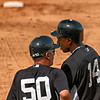 Coaching Granderson at First Base