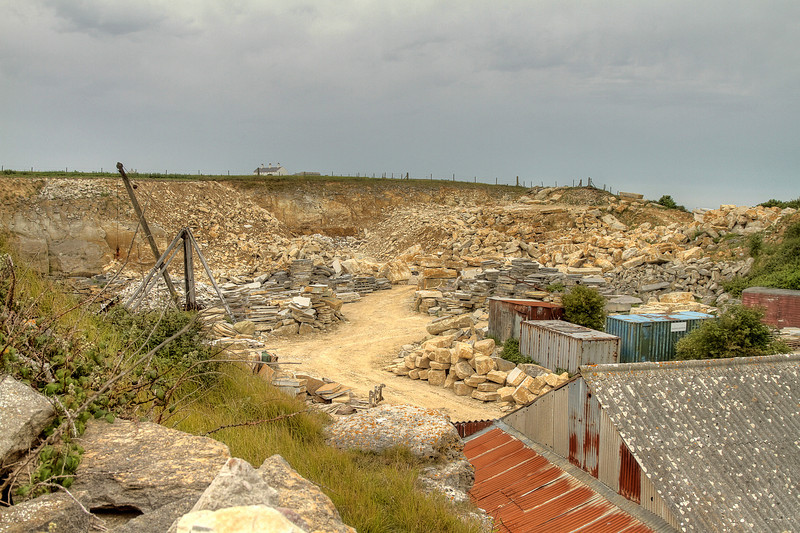 The nearby Stone Quarry with coastguard cottages in the distance.
