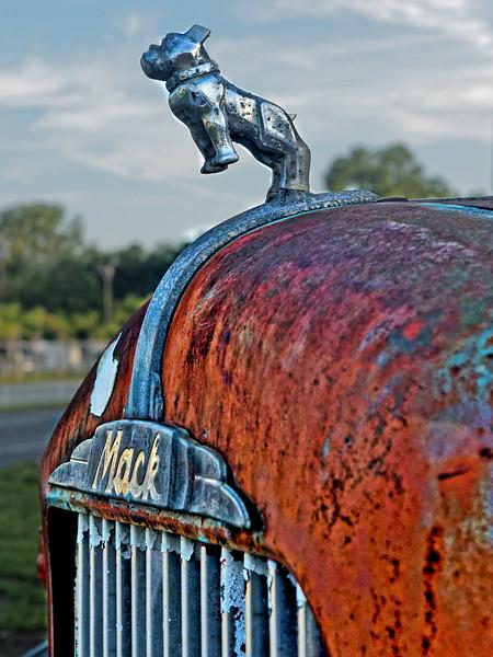 Antique Mac Firetruck Hood and Ornament