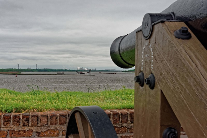 View of Savannah Harbor from Fort Jackson.
