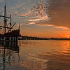 Sunrise over Matanzas Bay, St. Augustine.  Ship is El Galeón.