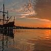 Sunrise over Matanzas Bay, St. Augustine.  Ship is El Galeón.