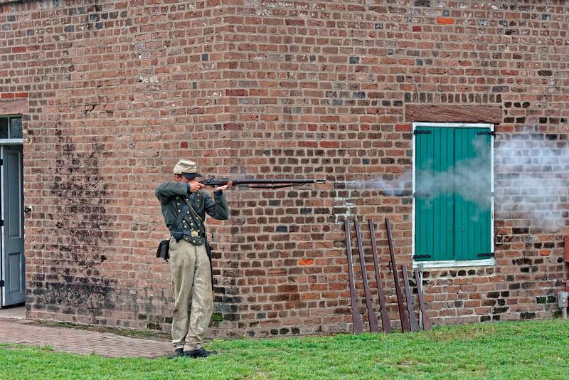 Demonstration musket firing
