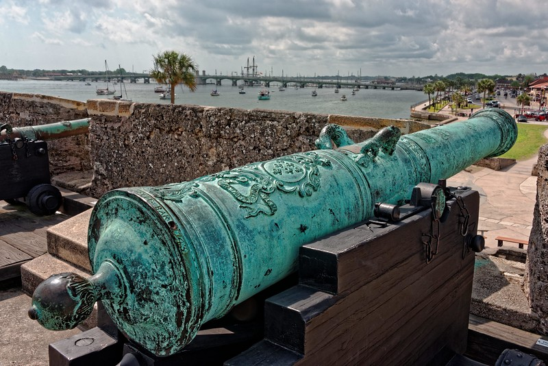 Close-up of the cannon.  Note the art work.  Dated 1743
