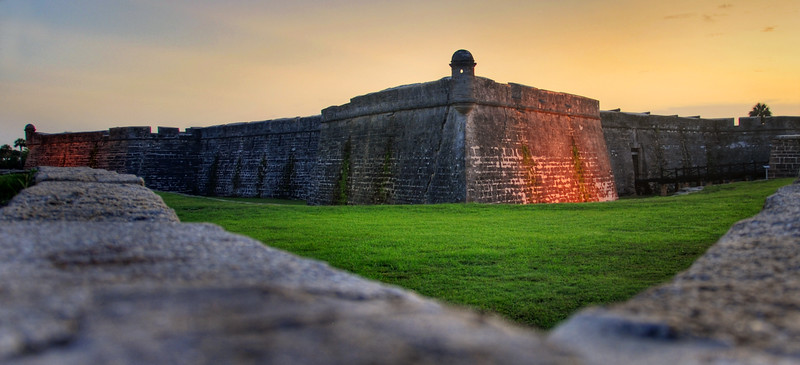 The Castillo de San Marcos site is the oldest masonry fort in the United States. It is located in the city of St. Augustine, Florida. Construction was begun in 1672 by the Spanish when Florida was a Spanish territory. This was sunrise, and I didn't bring a tri-pod. Doh!