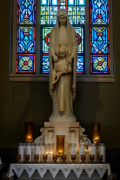 St. Bridget's church, Corpus Christi window, St. Ann and child statue<br /> <br /> STATUE OF ST. ANN AND THE CHILD, MARY