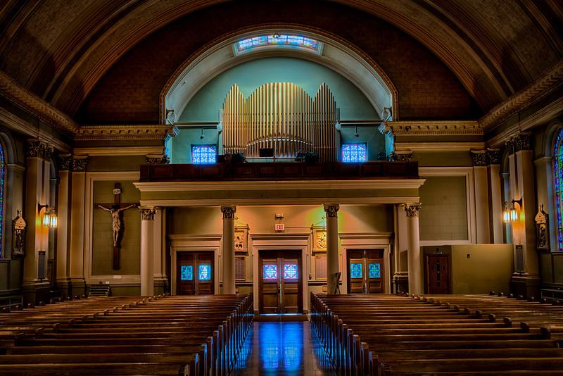St Bridgets church, Shrine of the Crucifixion, choir loft, confessional.